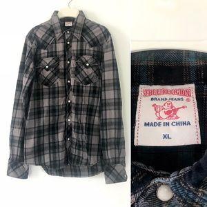 True Religion grey plaid flannel western shirt